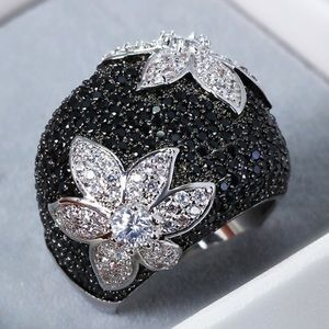 Jewelry - Black & White Sapphire Statement Ring w/box 6 & 7
